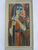 20th century school Oil on canvas Study of a young girl holding a stick, signed indistinctly
