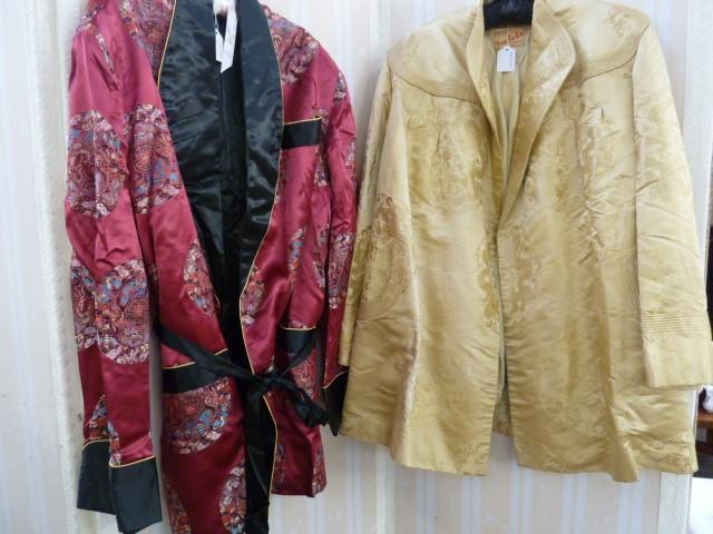 Vintage satin three quarter length jacket, labelled 'Ying Tai Co, Hong Kong and Shanghai', a