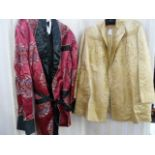 Vintage satin three quarter length jacket, labelled 'Ying Tai Co, Hong Kong and Shanghai', a