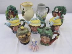 Quantity of character teapots, jugs, etc to include Beswick 'Sam Weller', three Beswick 'Dolly
