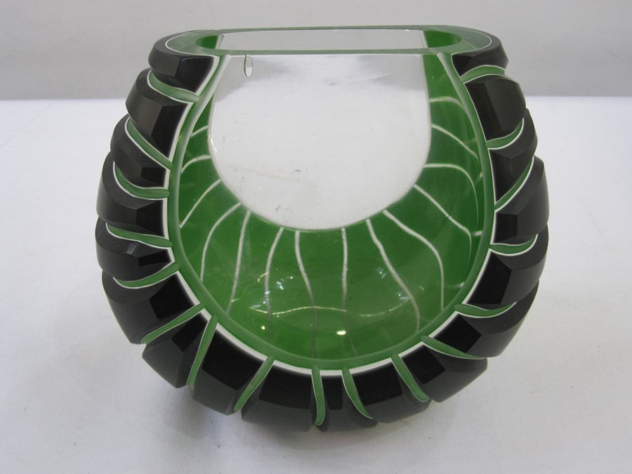 Richie Alli contemporary studio art glass vasein green and clear glass, rock-effect, oblate ,
