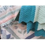 Modern quilt, a wool counterpane and a knitted blanket (1 box)