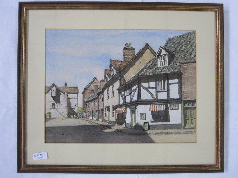 E W Moy (20th century school) Watercolours Two street scenes, possible Winchcombe and a fishing - Image 3 of 3