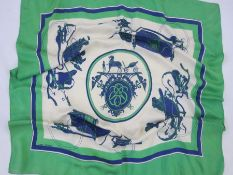 Hermes scarf'Ex Libris', Hugo Grygkar 1946 Condition ReportSome yellow staining mainly to the outer