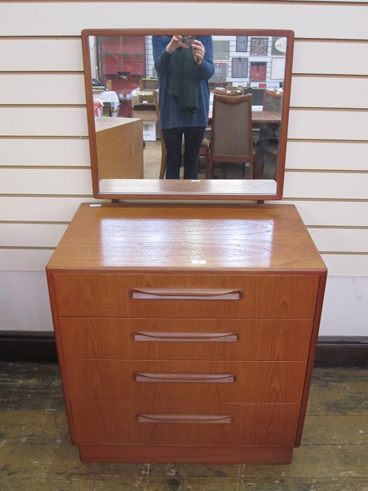 G-Plan dressing chest with rectangular mirror, four drawers, curved handles, 71cm wideCondition