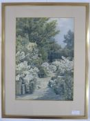 Beatrice Emma Parsons (1870-1955) Watercolour Path through a garden, signed lower right, 37 x 26cm