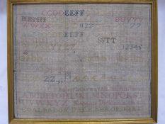 19th century alphabet samplerby 'Rebecca Dickinson 1821, Coalbrookdale, Shropshire', 26cm x 31cm