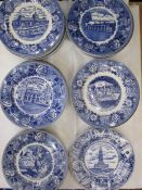 Old English Staffordshire ware blue and white transfer-printed plates, various American historical
