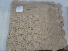 Large undyed crochet table cloth/bedspread, circular crochet table cloth, embroidered table cloth