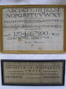 Sampler in black with alphabet and numbers by 'Sarah Harrison 1823', 21cm x 31cm (some staining) and