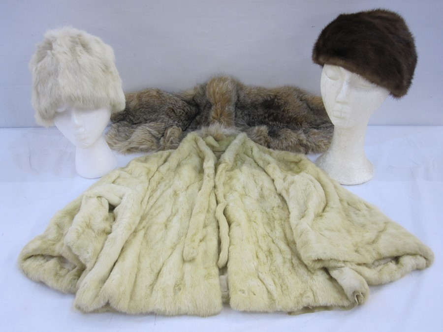 Coney white vintage pillar box hat, a mink beret, an ermine short cape and a fox collar (4)