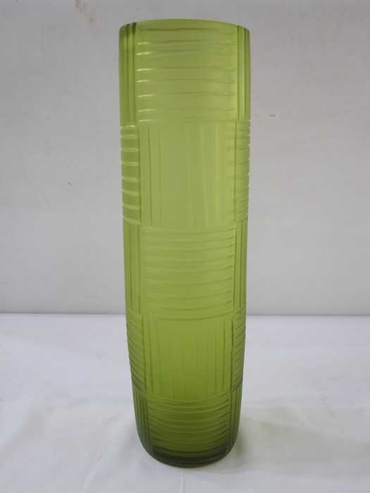 Richie Alli large green Art glass vase, cylindrical with incised line detail, marked to base,