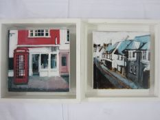 "Camilla Dowse Acrylic ""Red phone box, Oxford"",  and a Brighton Street Scene, a pair, one labelled to"