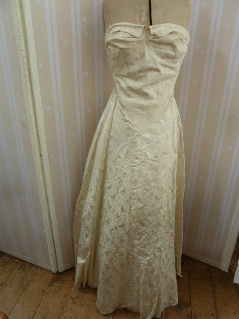 1950's brocade evening dress, full skirted, strapless bandeau top, button detail to the back, a