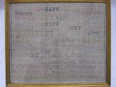 19th century alphabet sampler by 'Rebecca Dickinson 1821, Coalbrookdale, Shropshire', 26cm x 31cm