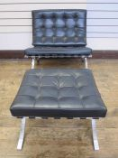 Barcelona chair and matching stoolin black leather (2)