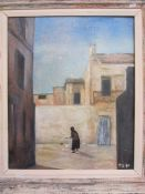 P Blackmon (20th century school)  Oil on board Woman feeding chickens in Mediterranean street,