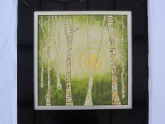 "Graham Rice 20th Century School ""Silver birch in the morning sun"", mixed media with gold and copper,"