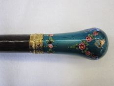 Vintage parasol frame with gold-coloured collar and enamelled handle, turquoise with pink swags of