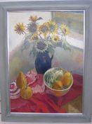 Thea Dupays Oil on canvas Still Life study of sunflowers in a vase, signed lower right  73 x 54
