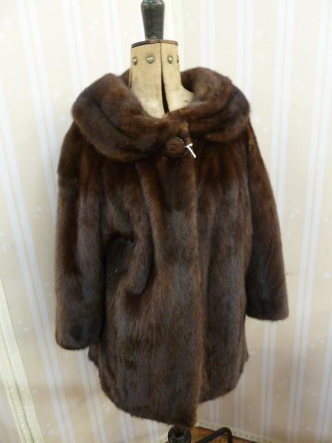 Vintage dark brown mink coat, three quarter length,with a cowl collar, bracelet sleeves, single