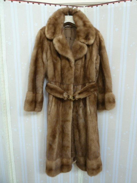 1970's full-length mink coatwith banded hem, cuff sleeves, with belt and metal buckle