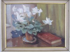 D. Hardyment (20th century school) Oil on board Still life study of flowers in a pot with book,