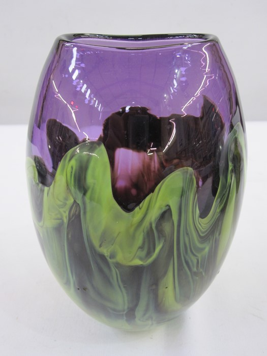 Studio art glass vasein purple and green, cylindrical shaped, marked to base 'Alexander(?)', 17cm
