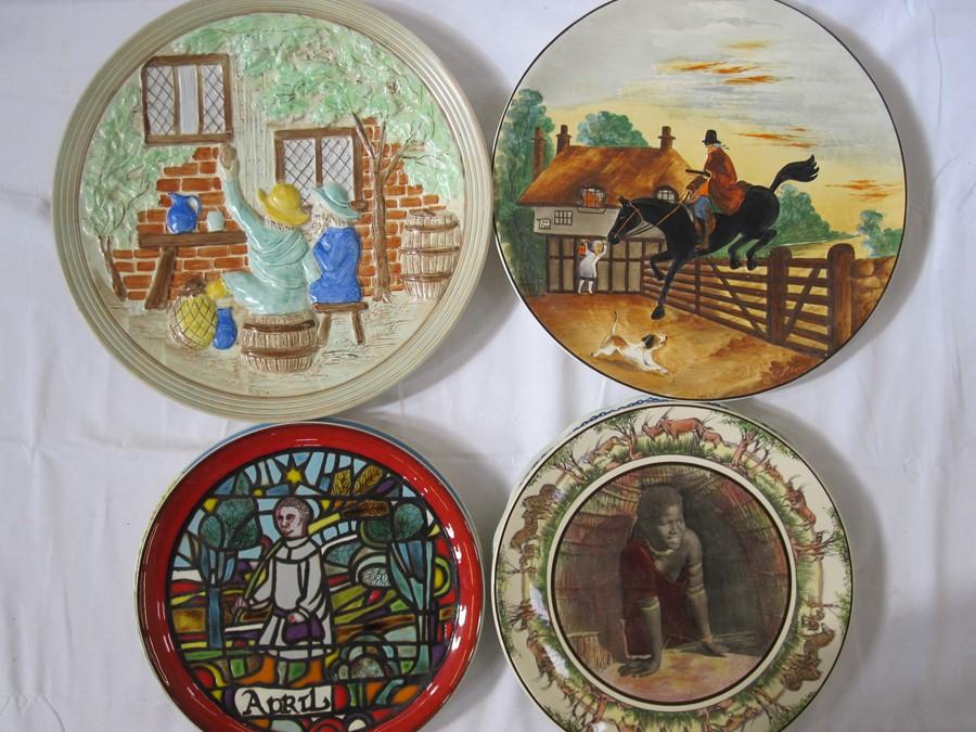 Poole pottery 'Medieval Calendar Series', no.14/1000, April 1973, German pottery plate, Royal