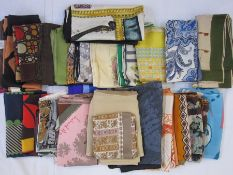 Six vintage Liberty silk scarves, a vintage Liberty wool scarf and other assorted silk scarves to