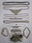 Quantity diamante and similar set bracelets and necklaces, diamante set double-clip brooch and other