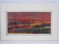 "Barbara Shaw ""Red sky"", fabric collage, signed in pencil to the margin lower right, 52 x 44cm"