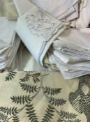 Quantity of table linen to include damask table napkins, damask tablecloth, batik circular