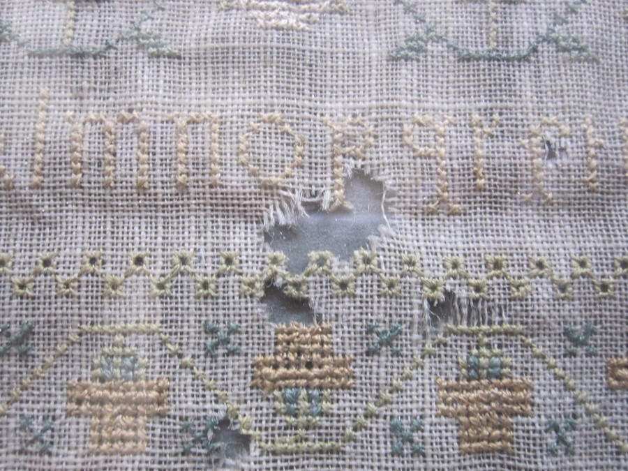 Early 19th century sampler with alphabet, verse, animals and floral border by 'Eliza Daydon, 08', - Image 2 of 8