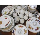 Quantity of Worcester 'Evesham' pattern part dinner and tea service comprising mugs, serving dishes,