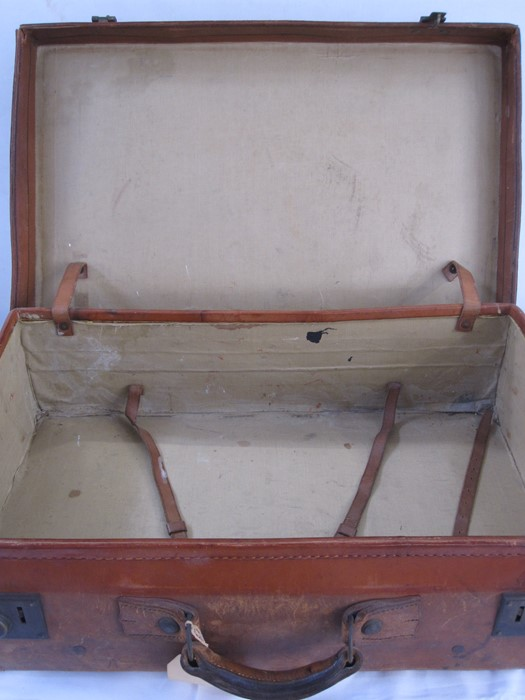 Vintage leather travelling case, bearing label for Loch Awe Hotel, Loch Awe, Argyllshire and a - Image 3 of 3