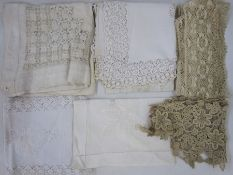 Assorted lace and linen items to include a gros point, possibly Venetian, lace collar with picot
