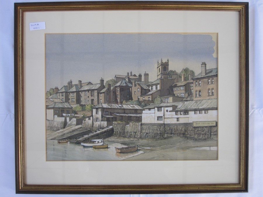 E W Moy (20th century school) Watercolours Cathedral,  Polperro and another wharf scene and two - Image 2 of 3