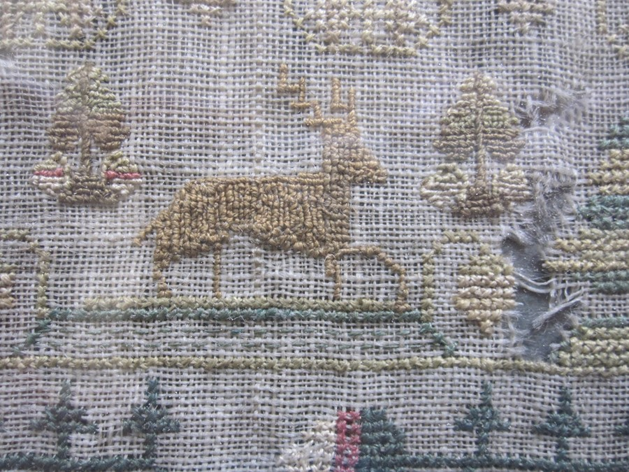 Early 19th century sampler with alphabet, verse, animals and floral border by 'Eliza Daydon, 08', - Image 6 of 8