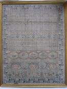 Early 19th century sampler with alphabet, verse, animals and floral border by 'Eliza Daydon, 08',