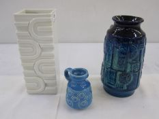 Bay Keramik miniature vase, 1970's, in blue with raised bubble-shaped decoration, 8.5cm high,