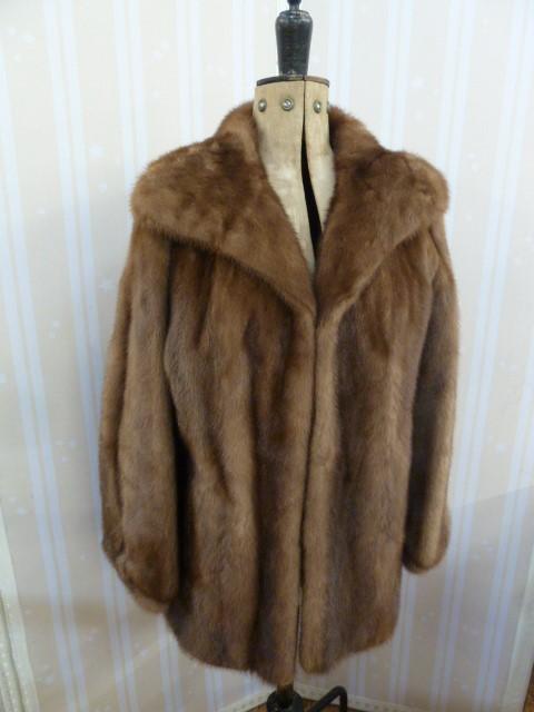 Vintage mink coatwith cuff sleeves, deep shawl collar