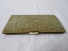 1940's silver and shagreen cigarette case, rectangular, London 1946