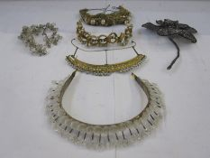 Victorian and later headdresses/tiaras to include metal and faux-pearl, silver thread, silver-