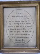 Early 19th century samplerwith verse 'Virtue by Margaret Rooke, Ackworth School, 1806', 31cm x 25cm