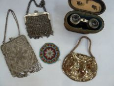 Late 19th century beaded bag with diamante detail, fixed frame and chain handles, chain mail evening