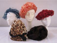 Vintage petal hat, a blue chiffon and velvet headband labelled Mitzi Boutique of London, a raffia