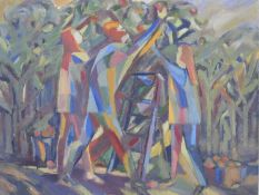 Margaret Melliar, British (1905-1992) Oil on canvas Abstract scene of figures picking apples, signed