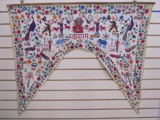 Hand embroidered possible tent hanging, showing Indian figures, birds, animals