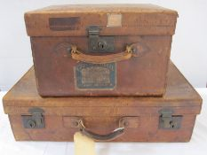 Vintage leather travelling case, bearing label for Loch Awe Hotel, Loch Awe, Argyllshire and a